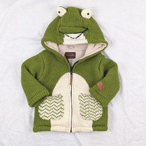 Kyber Knit/Fleece Lined Frog Sweater Jacket Sz 2/3T